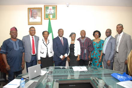 The IEPA delegation with Permanent Secretary and other Senior officials of the Ministry in Abuja